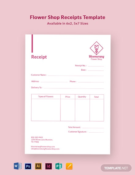 Flower Shop Receipt Template