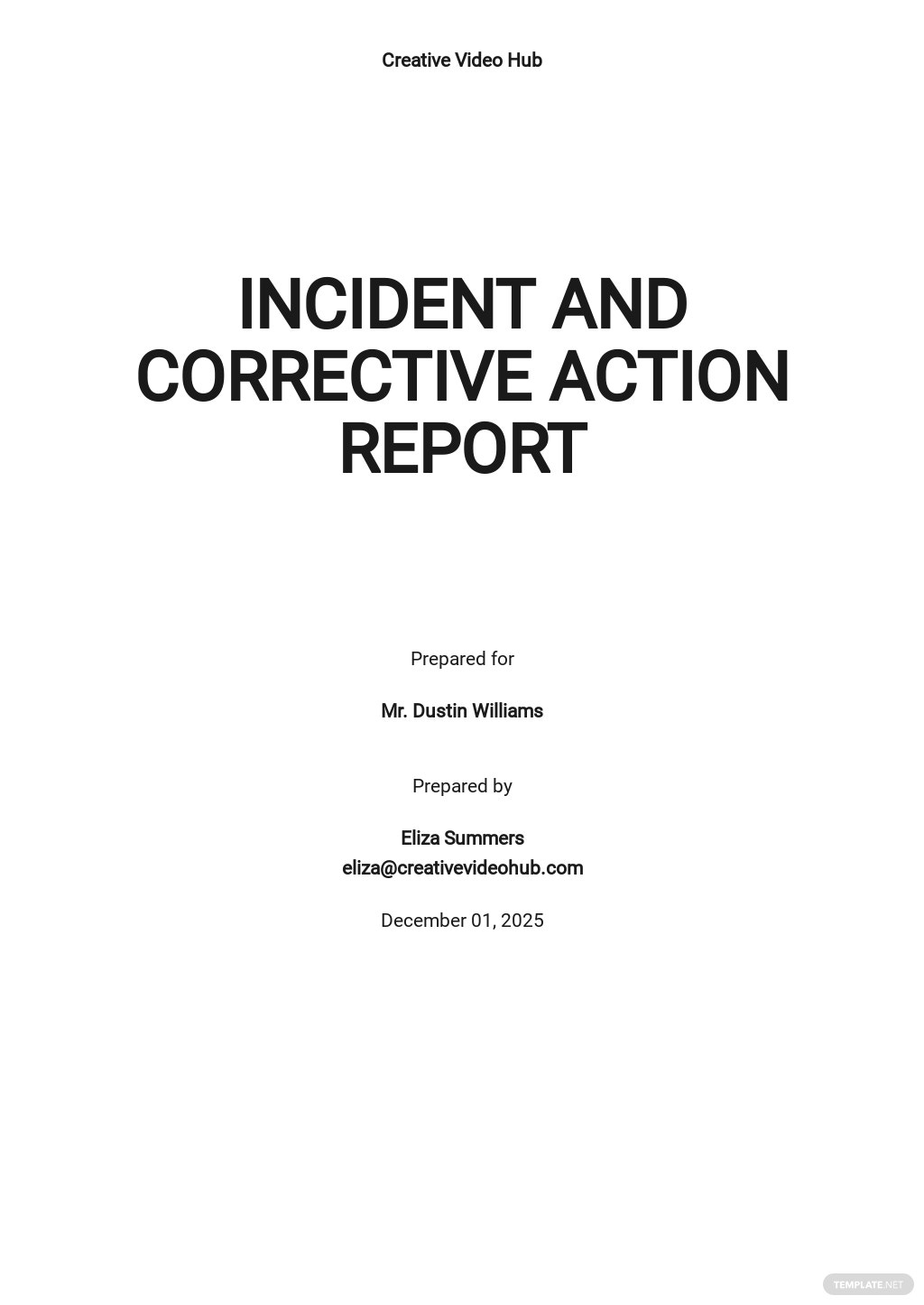 Incident and Corrective Action Report Template