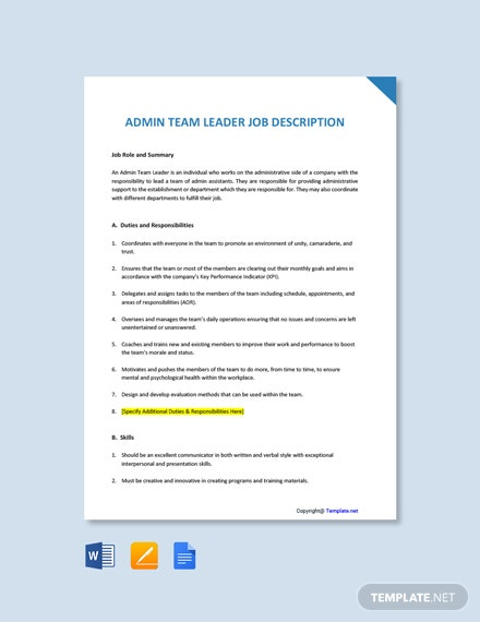 Free Admin Team Leader Job Ad/Description Template