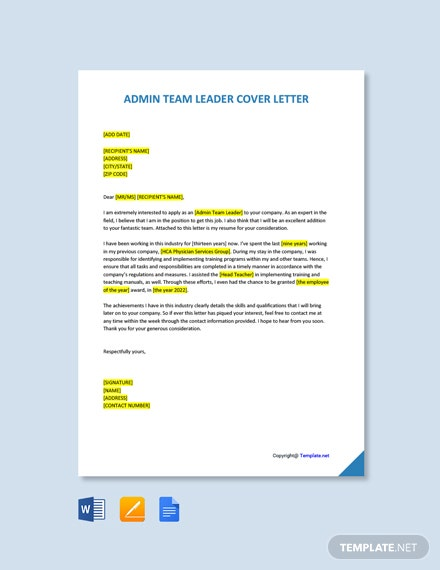 Free Admin Team Leader Cover Letter Template
