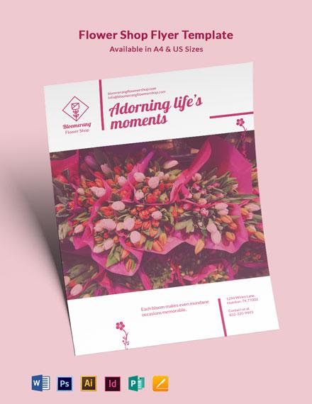 Flower Shop Promotional Flyer Template
