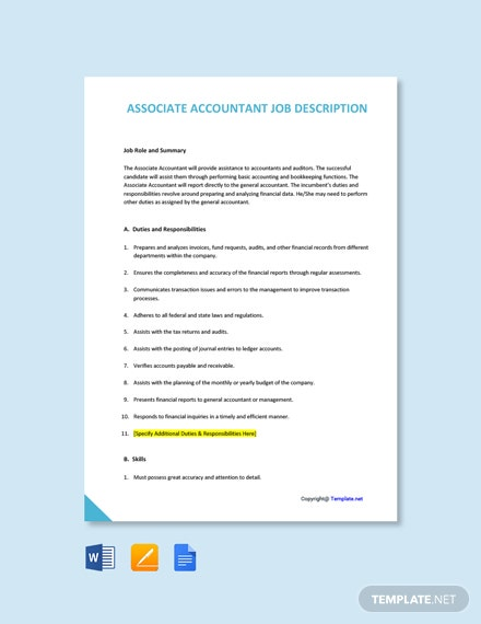 Free Associate Accountant Job Description Template