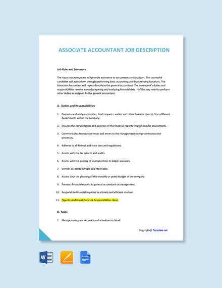 Free Associate Accountant Job Ad/Description Template