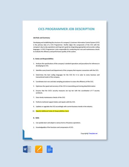 Free CICS Programmer Job Ad/Description Template