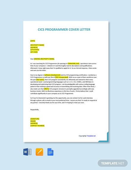CICS Programmer Cover Letter Template