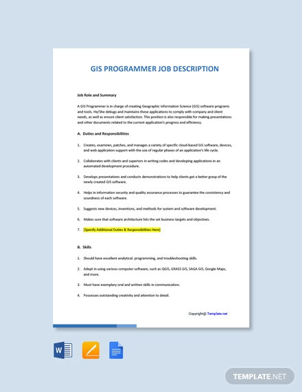 Free GIS Programmer Job Ad/Description Template