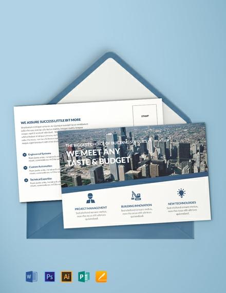 Free Architecture Postcard Template