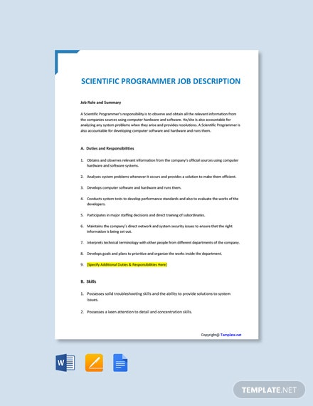 Free Scientific Programmer Job Ad/Description Template