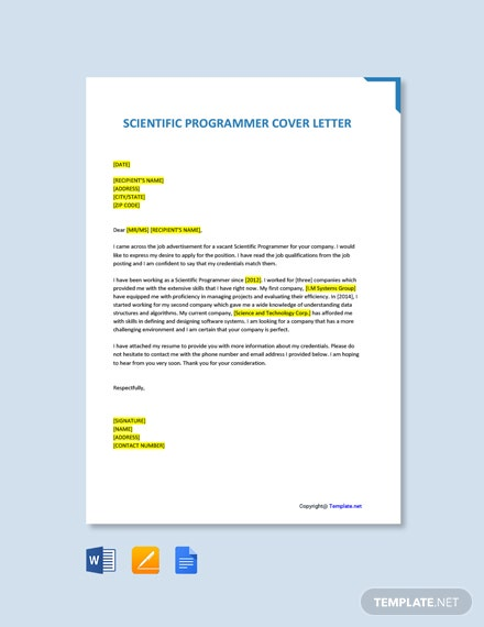 Free Scientific Programmer Cover Letter Template