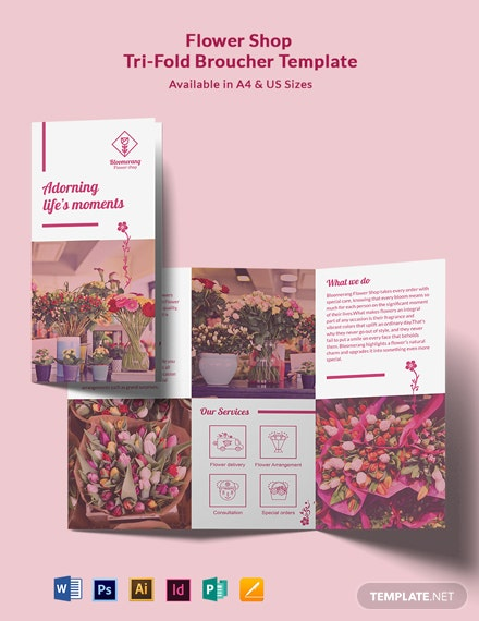 Flower Shop Promotional Tri-Fold Brochure Template
