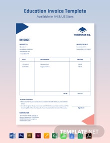 Education Receipt Template