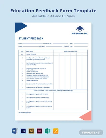 Education Feedback Form Template