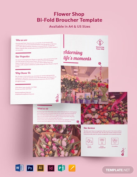 Flower Shop Promotional Bi-Fold Brochure Template