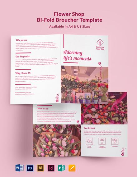 Flower Shop Promotional Bi-Fold Brochure Template