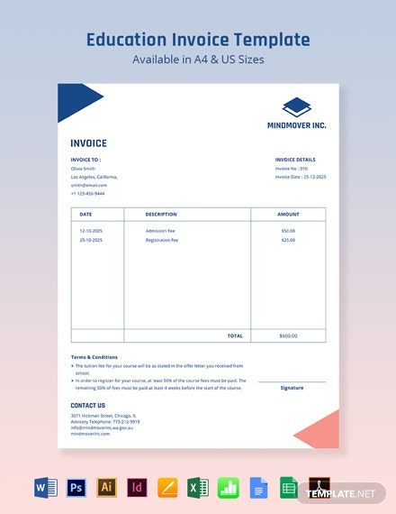 Blank Education Invoice Template