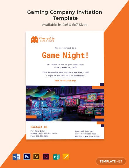 Gaming Company Invitation Template