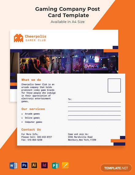 Gaming Company Postcard Template