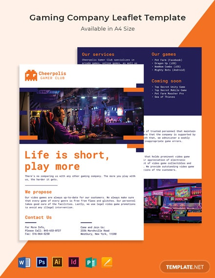Gaming Company Leaflet Template