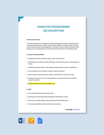 Free Computer Programmer Job Ad/Description Template