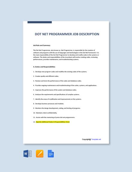 Free Dot Net Programmer Job Ad/Description Template