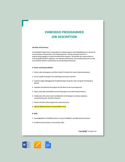 Free Embedded Programmer Job Description Template