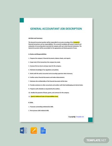 Free General Accountant Job Ad/Description Template