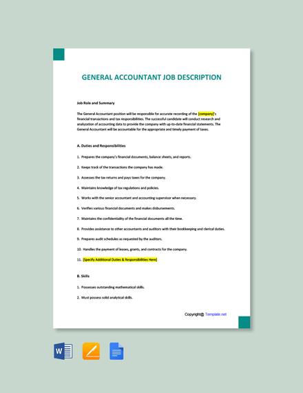 Free General Accountant Job Ad/Description Template