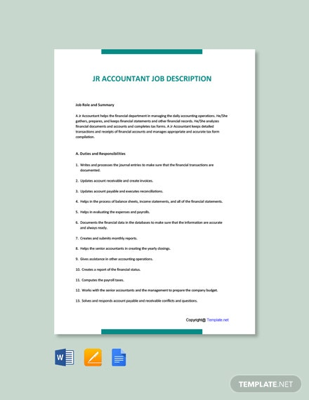 Free Jr Accountant Job Ad/Description Template