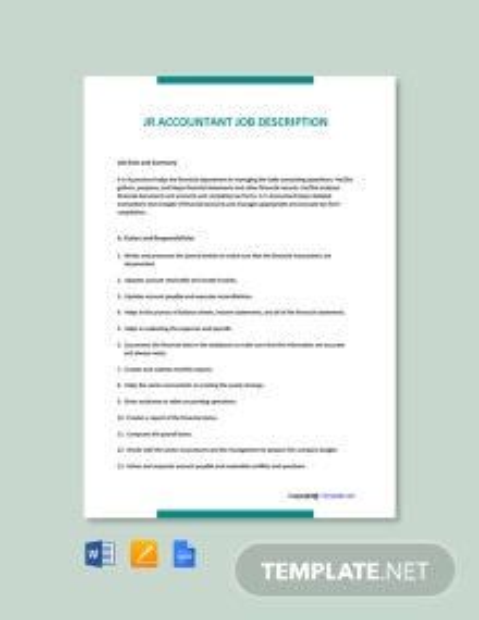 Free Jr Accountant Job Ad/Description Template