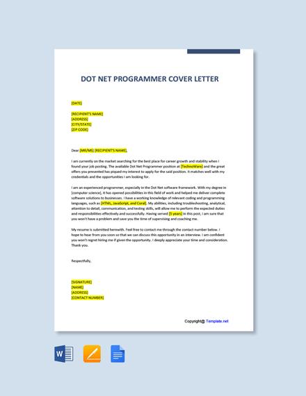Free Dot Net Programmer Cover Letter Template