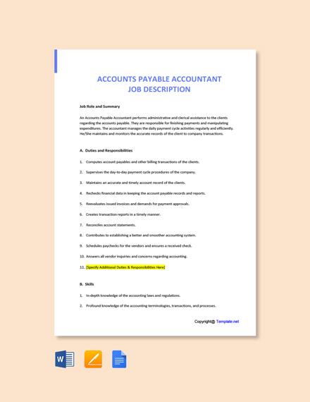 Free Accounts Payable Accountant Job Description Template
