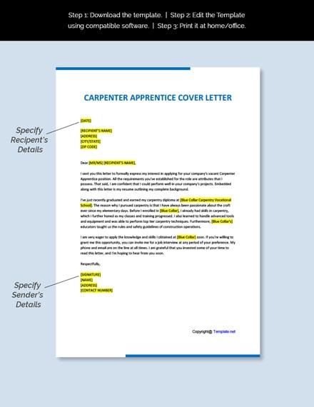 FREE Carpenter Apprentice Cover Letter Template -Word ...