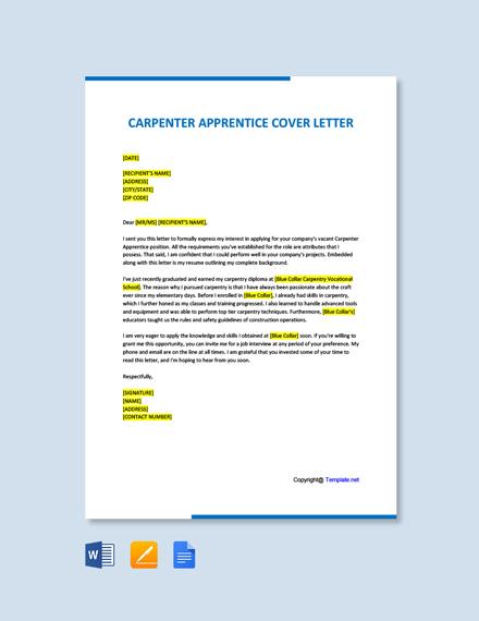 Free Carpenter Apprentice Cover Letter Template