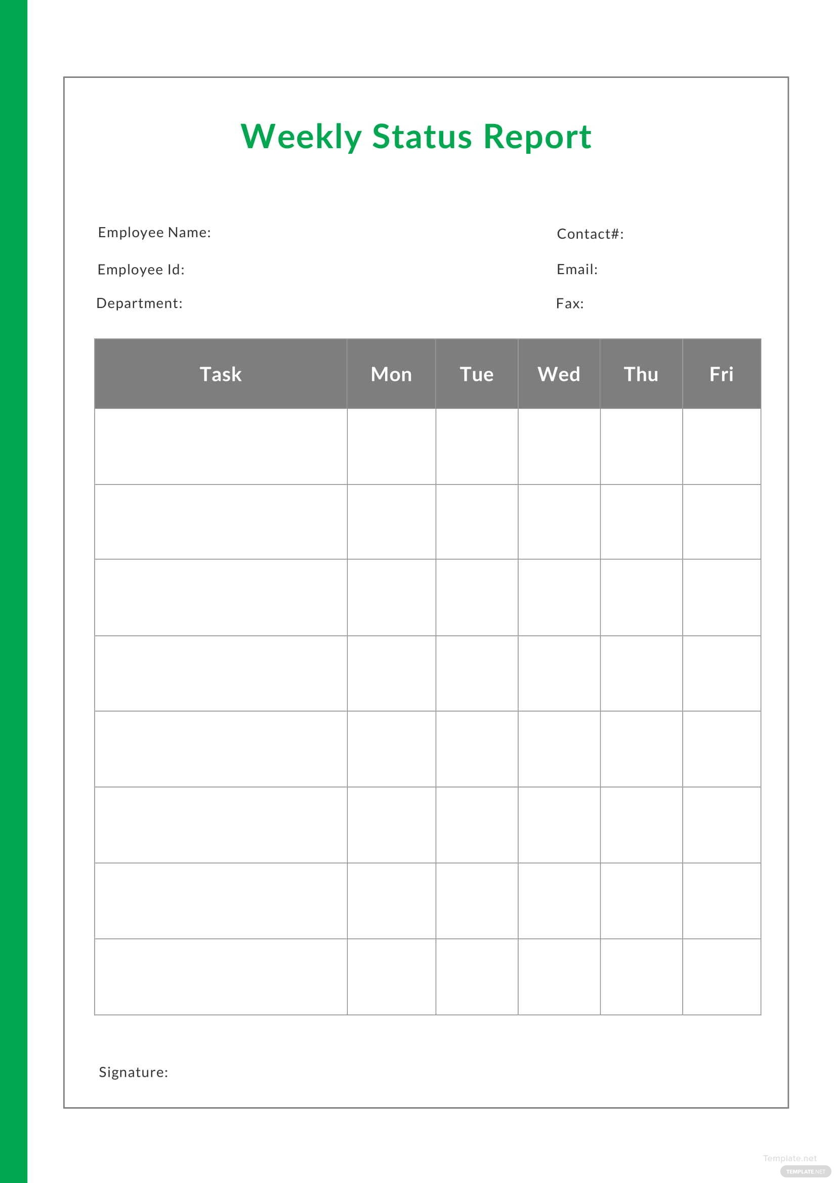 sample weekly status report template in microsoft word