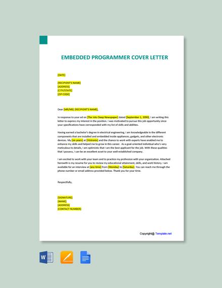 Free Embedded Programmer Cover Letter Template