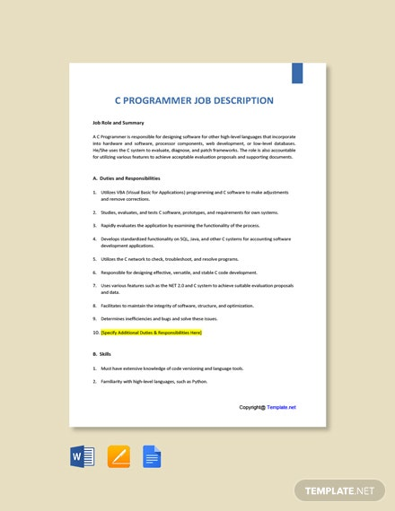 Free C Programmer Job AD/Description Template