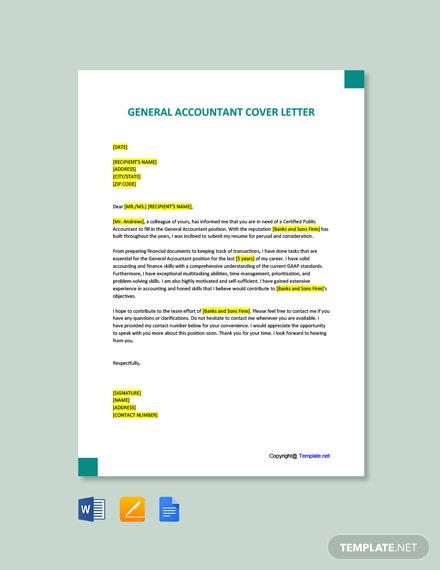 Free General Accountant Cover Letter Template