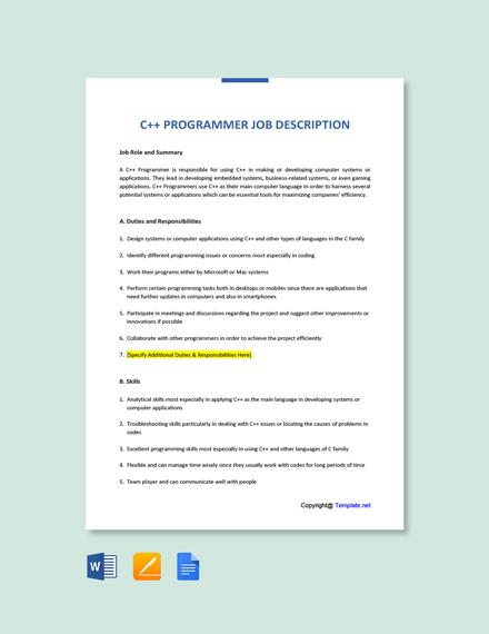 Free C++ Programmer Job AD/Description Template