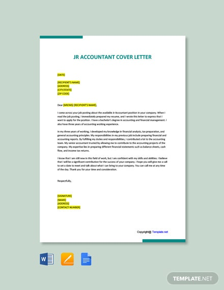 Free Jr Accountant Cover Letter Template
