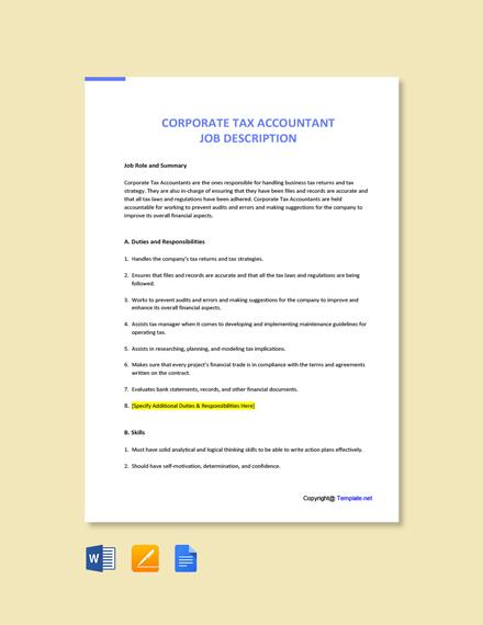 Free Corporate Tax Accountant Job AD/Description Template