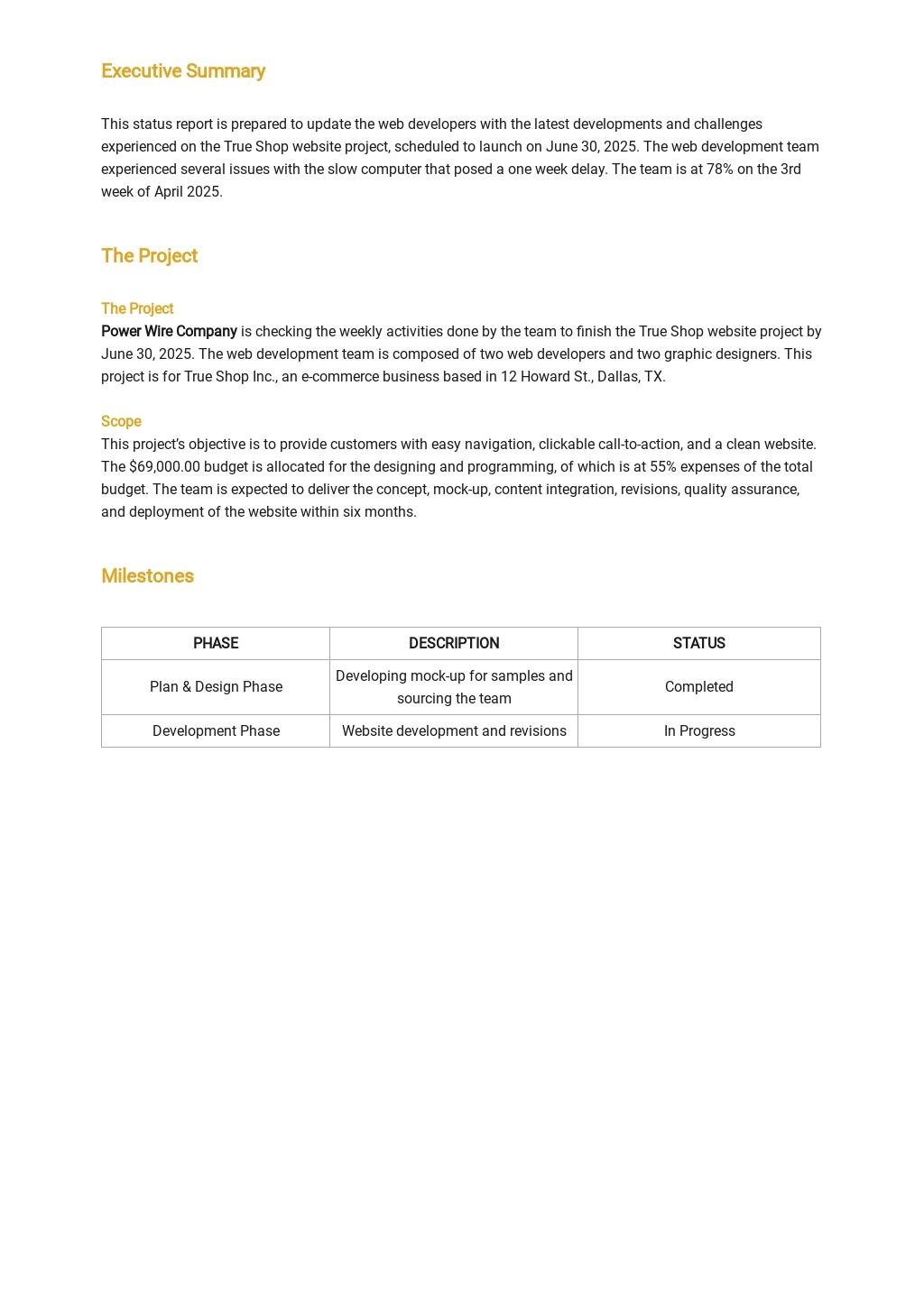 Free Team Weekly Status Report Template 1.jpe