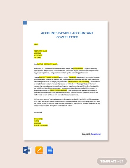 Free Accounts Payable Accountant Cover Letter Template