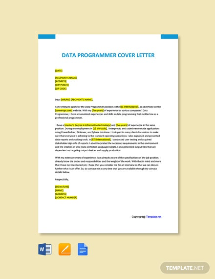 Free Data Programmer Cover Letter Template