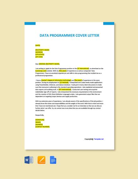 Free Data Programmer Cover Letter Template