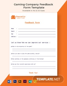 Gaming Company Feedback Form Template