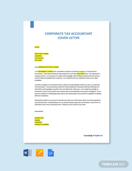 Free Corporate Tax Accountant Cover Letter Template