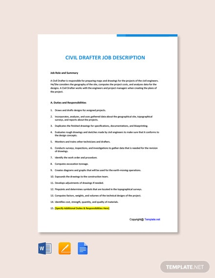 Free Civil Drafter Job AD/Description Template