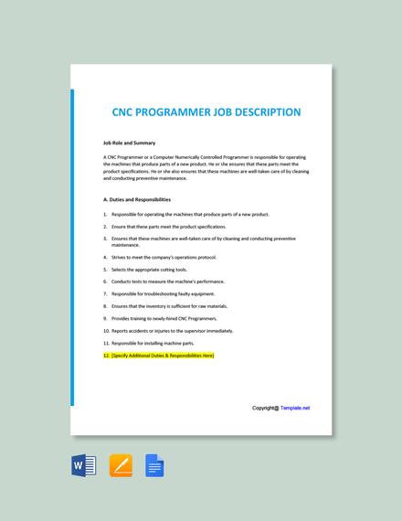 Free CNC Programmer Job Ad and Description Template