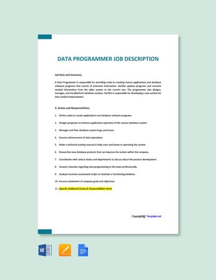 Free Data Programmer Job Ad and Description Template