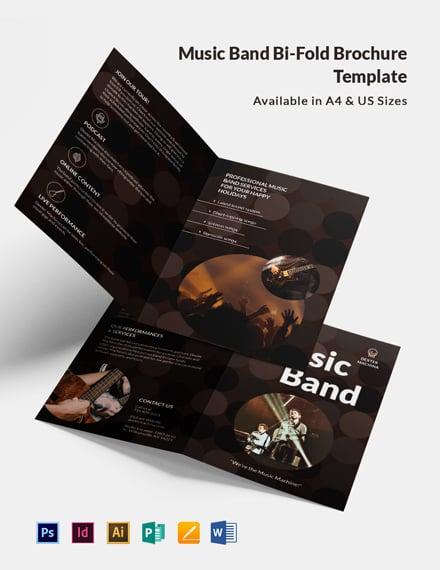 Music Band Bi-Fold Brochure Template